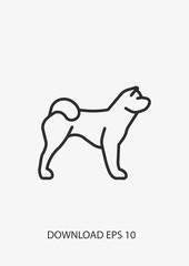 Akitas dog icon, Vector