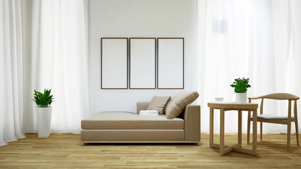Daybed and coffee table on wooden floor / 3D rendering