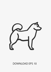 Husky dog icon, Vector