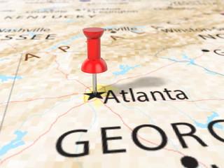Pushpin on Atlanta map