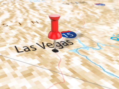 Pushpin on Las Vegas map
