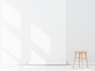 Empty room with White Blank Wallpaper roll Mockup hanging on the wall, chair, 3d rendering