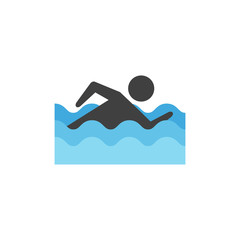 Flat icon - Man swimming