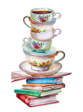 Party colorful tea cups of books closeup. Sketch handmade. Postcard for Valentine's Day. Watercolor illustration.