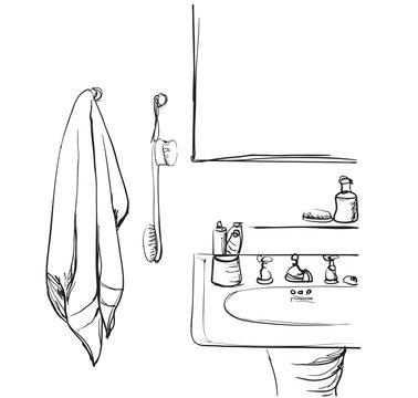 Hand drawn Bathroom. Washbasin and mirror sketch
