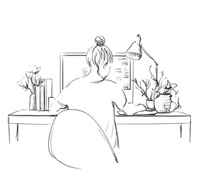 Sketch of girl working at the computer.