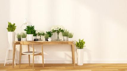 flower shop and cafe indoor garden - 3d rendering