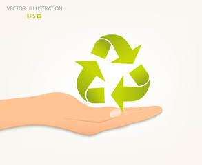 Recycle symbol on an open palm.