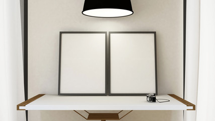 frame picture on wooden table and pendent lamp - 3D Rendering