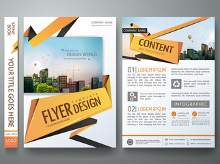 Portfolio design template vector. Minimal brochure report business flyers magazine poster. Abstract orange polygons on cover book presentation. City concept on A4 size layout.