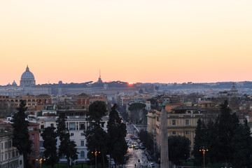 Roofs of Rome evening, Italy