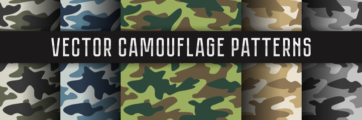 Vector seamless camouflage patterns.