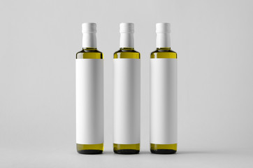 Olive / Sunflower / Sesame Oil Bottle Mock-Up - Three Bottles. Blank Label