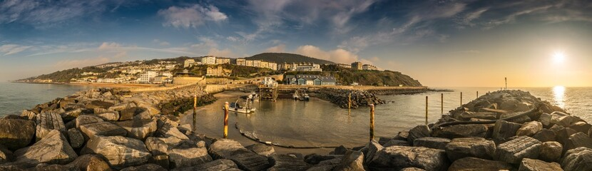 A panorama of the sunrise at Ventnor, Isle of Wight, England