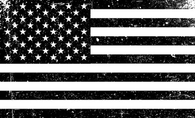 Grunge monochrome United States of America flag. Black and white vector illustration with grunge texture. Fotomurales