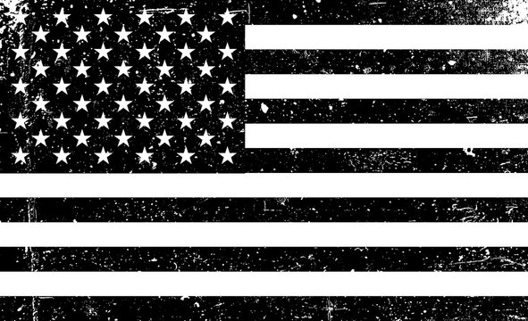 Grunge monochrome United States of America flag. Black and white vector illustration with grunge texture.