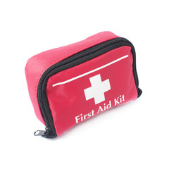 First Aid Red Bag Isolated on White Background. Medical Kit. First Aid Kit