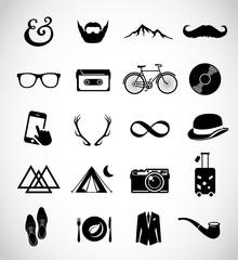 Hipser icon set vector