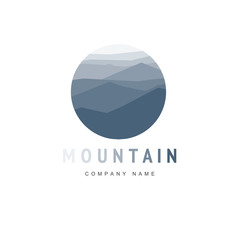 Mountain logo template with abstract peaks. Vector illustration. Mountaineering and Traveling icon.