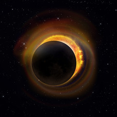 Partial solar eclipse with colorful halo on a starry sky background. Elements of this image furnished by NASA