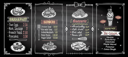Breakfast, lunch, desserts and ice-cream chalkboard menu template