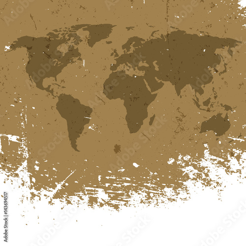 Grunge world map background abstract old aged geography vector grunge world map background abstract old aged geography vector background isolated edge to white gumiabroncs Images