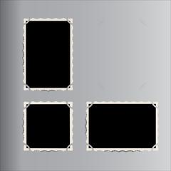 Set of vector retro photo frames placed in vintage photo album.