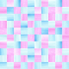 Seamless pattern with hand drawn watercolor squares. Blue and pink pearl watercolour texture.