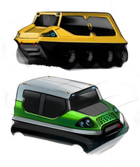 Sketch design concept of cross-country off-road vehicle. Illustration.