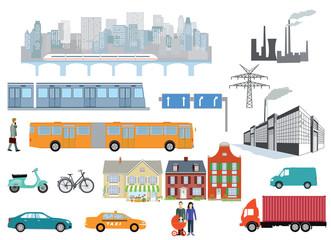 Gemeinde mit Straßenverkehr transport, und Industrie, Infografik, Vektor-Illustration