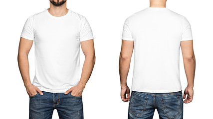 White t-shirt on a young man white background, front and back