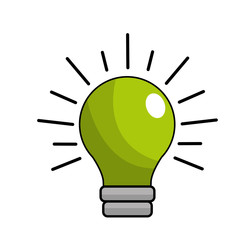 green traditional bulb light icon
