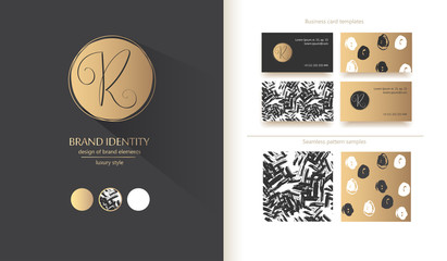 Luxury brand identity. Calligraphy R letter - sophisticated logo design. Couple business card designs included