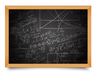 Science. Mathematical and physical formulas on school blackboard