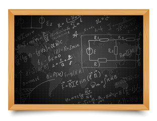 Science. Mathematical and physical formulas on the school board