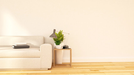 Living room and coffe break area clean design-3D Rendering