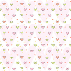 Vector illustration of cute heart pattern background.