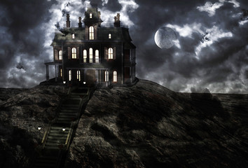 Haunted ghostly mansion on top of the hill on a full moon night and low clouds. 3D rendering Wall mural
