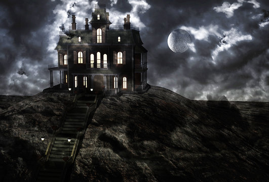 Haunted ghostly mansion on top of the hill on a full moon night and low clouds. 3D rendering