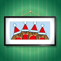 Four Robins wearing Santa Hats in Picture Frame