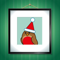 Robin wearing Santa Hat in Picture Frame