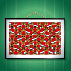 Group of Robins wearing Santa Hats in Picture Frame