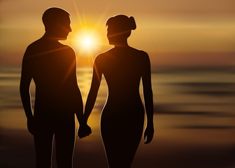 Silhouette of loving couple at sunset. Man and woman holding hands on the seashore. Love and romance. Vector illustration