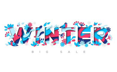 Winter typography design with paper cut shapes