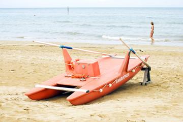 Rescue boat on the beach of Marina Centro in Rimini