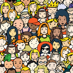 people faces seamless vector pattern