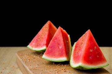 Seedless watermelon pieces with chili powder