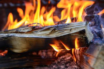 Feuer brennt mit Holz, Flammen