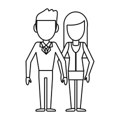 outlined couple people relationship vector illustration eps 10