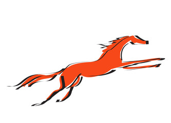 Hand drawing with black line silhouette galloping red color horse. Vector cartoon Japanese style illustration.